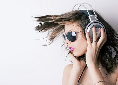 headphones, women - related desktop wallpaper