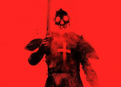 skulls, red, Templars, monochrome, red background, Alex Cherry - desktop wallpaper