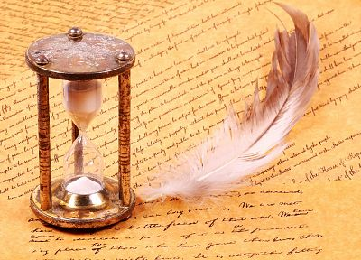 paper, feathers, hourglass, writing, time - desktop wallpaper