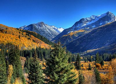 green, mountains, nature, autumn, yellow, Evergreen, skyscapes - random desktop wallpaper