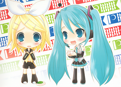 Vocaloid, Hatsune Miku, chibi, Kagamine Rin, anime girls, detached sleeves - related desktop wallpaper
