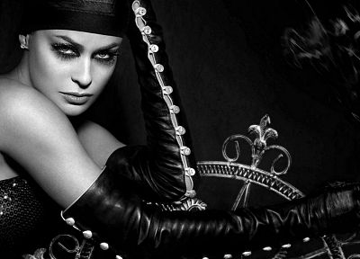brunettes, blondes, women, black and white, models, Carmen Electra, Gothic, grayscale - desktop wallpaper