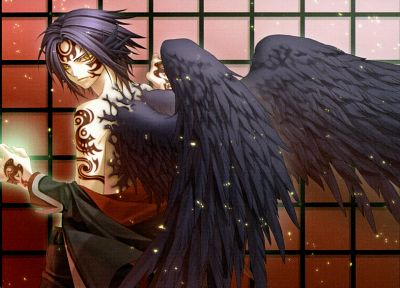 brunettes, tattoos, angels, wings, black angel, anime, golden eyes, Hiiro no Kakera - related desktop wallpaper