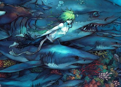 sharks, green hair, artwork, boys, underwater - random desktop wallpaper