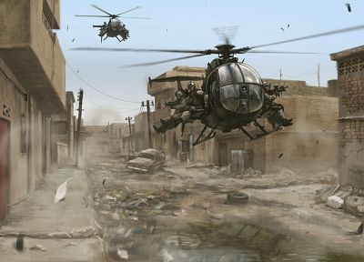soldiers, cityscapes, military, helicopters, buildings, artwork, Black Hawk Down, vehicles, delta force - random desktop wallpaper