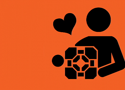 Portal, cubes, hearts, stick figures, simple background - desktop wallpaper