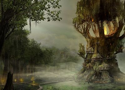 trees, fantasy art, Arcania - random desktop wallpaper