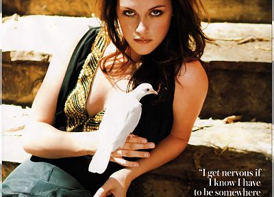 Kristen Stewart, doves, quotes, stairways, magazine scans - related desktop wallpaper