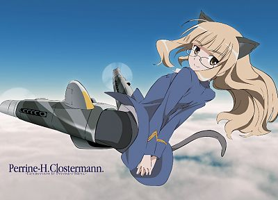 Strike Witches, animal ears, meganekko, Perrine H. Clostermann - random desktop wallpaper