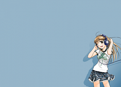 headphones, anime, simple background, anime girls - desktop wallpaper