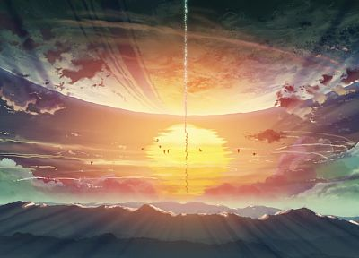 Makoto Shinkai, 5 Centimeters Per Second, artwork, skyscapes - related desktop wallpaper