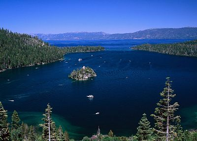 mountains, landscapes, forests, islands, boats, vehicles, multiscreen, Lake Tahoe, emerald bay - related desktop wallpaper