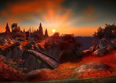 sunset, autumn, World of Warcraft, bridges, fantasy art, Aszhara - random desktop wallpaper