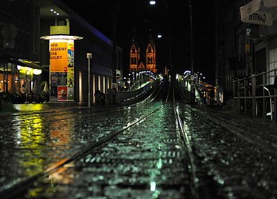 cityscapes, streets, night, Germany, Freiburg - desktop wallpaper