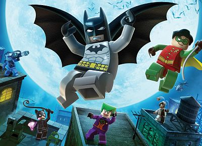 Batman, Robin, video games, The Joker, Catwoman, rooftops, Two-Face, bats, Mr. Freeze, Legos - related desktop wallpaper