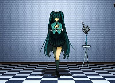 Vocaloid, Hatsune Miku, school uniforms, long hair, green hair, twintails - random desktop wallpaper