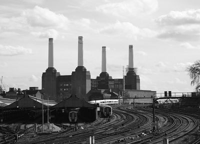 railroad tracks, power plants, industrial plants, Battersea - random desktop wallpaper