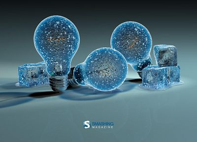 ice, light bulbs, 3D - desktop wallpaper