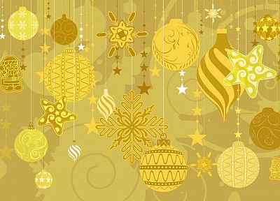 yellow, Christmas, holidays, decorations - desktop wallpaper