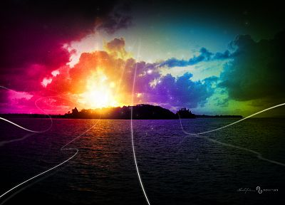 water, rainbows - random desktop wallpaper