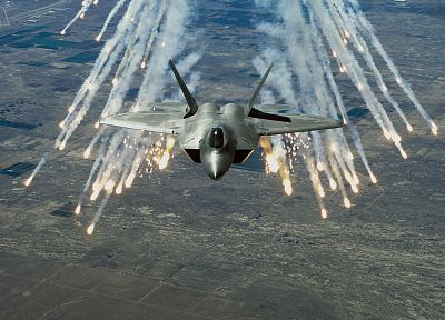 aircraft, military, F-22 Raptor, planes, vehicles, flares - desktop wallpaper