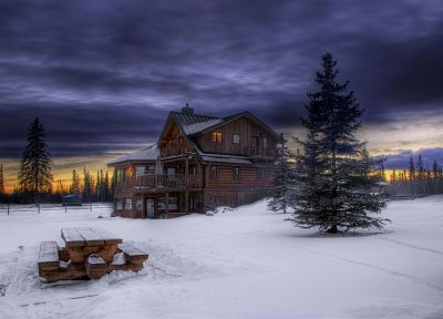 winter, houses, HDR photography - duplicate desktop wallpaper