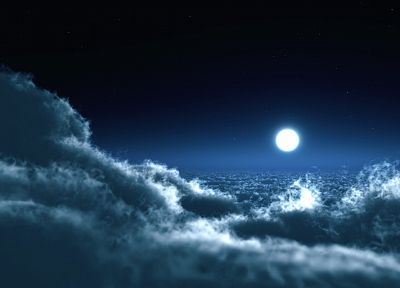 clouds, landscapes, Moon, skyscapes - related desktop wallpaper