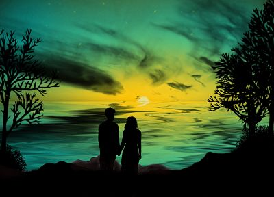 couple, romantic, skyscapes, sea - desktop wallpaper