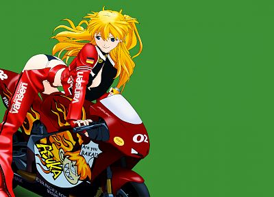 red, Asuka Langley Soryu, motorbikes, simple background - desktop wallpaper