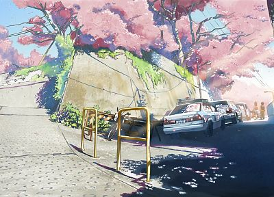 cherry blossoms, Makoto Shinkai, scenic, 5 Centimeters Per Second, police cars - desktop wallpaper