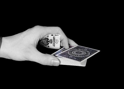 cards, palm, poker, monochrome, playing cards, ace of spades, greyscale, black background - desktop wallpaper