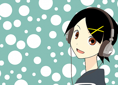 headphones, Sayonara Zetsubou Sensei, red eyes, short hair, dots, open mouth, Fuura Kafuka, anime girls, faces, looking back, sailor uniforms, hair ornaments, black hair, hair pins - related desktop wallpaper
