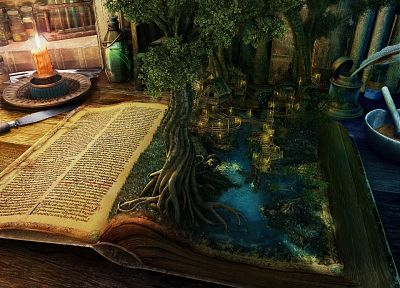 fantasy, fantasy art, books, magic, alchemy, Witchcraft - related desktop wallpaper