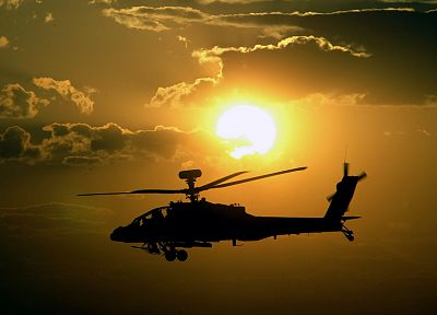 sunset, military, helicopters, longbow, vehicles, AH-64 Apache - desktop wallpaper