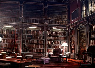 library, books, interior, artwork - desktop wallpaper