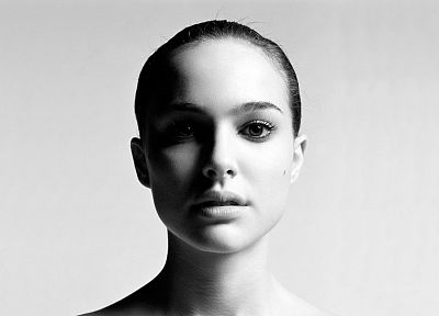 women, actress, Natalie Portman, monochrome - desktop wallpaper