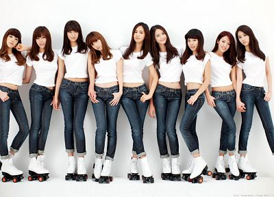women, jeans, Girls Generation SNSD, celebrity, rollerskates - random desktop wallpaper