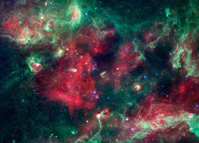 green, abstract, outer space, multicolor, stars, nebulae, skyscapes, colors - related desktop wallpaper
