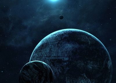 blue, outer space, planets, calm - desktop wallpaper