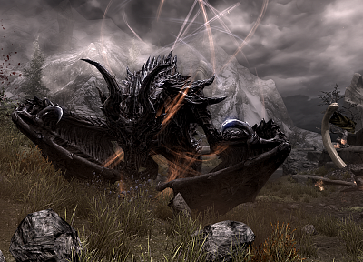 dragons, The Elder Scrolls V: Skyrim - random desktop wallpaper