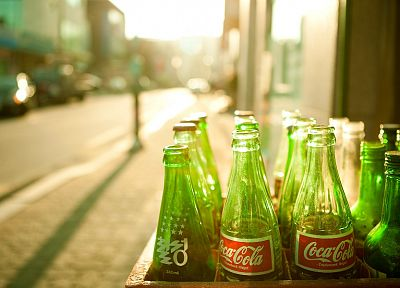 green, bottles, Coca-Cola - random desktop wallpaper