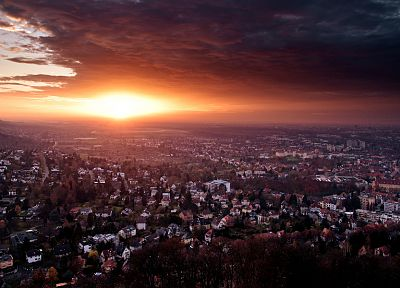 sunset, clouds, landscapes, cityscapes, Germany, architecture, houses, buildings, Karlsruhe - related desktop wallpaper