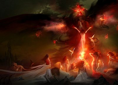 women, dark, night, fire, fantasy art, artwork, lions, Philip Straub - related desktop wallpaper