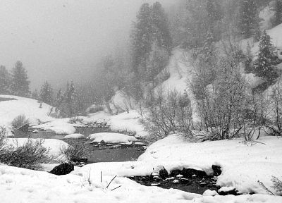 nature, winter, snow, trees, rocks, rivers - random desktop wallpaper