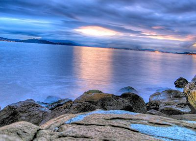 sunset, ocean, landscapes, rocks, seaside, beaches - random desktop wallpaper