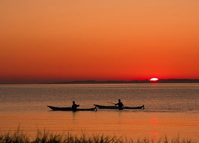 sunset, kayak, skyscapes - desktop wallpaper