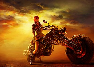 women, artwork, motorbikes - related desktop wallpaper