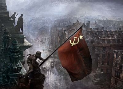 soldiers, flags, World War II, artwork, Soviet Russian flag, Reichstag - desktop wallpaper