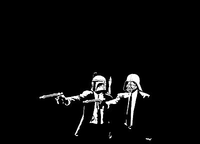 Star Wars, Pulp Fiction, funny, Banksy, alternative art, black background - random desktop wallpaper