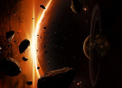 outer space, planets, digital art, asteroids - desktop wallpaper